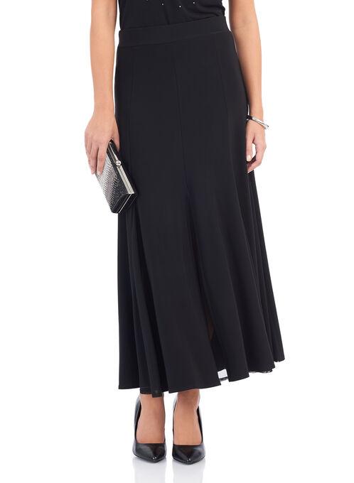 Pull-On Gored Skirt, Black, hi-res