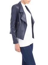Notch Collar Zip Detail Jacket , Blue, hi-res