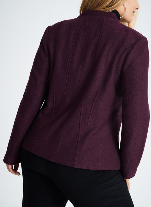 Zipper Trim Wool Jacket , Purple, hi-res
