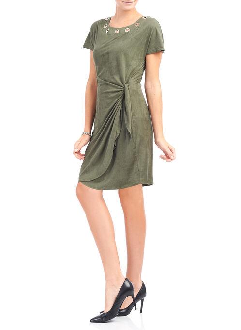 Faux Suede Grommet Detail Dress, Green, hi-res