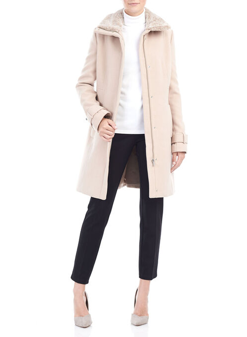 Wool-Like Faux Fur Coat, Off White, hi-res