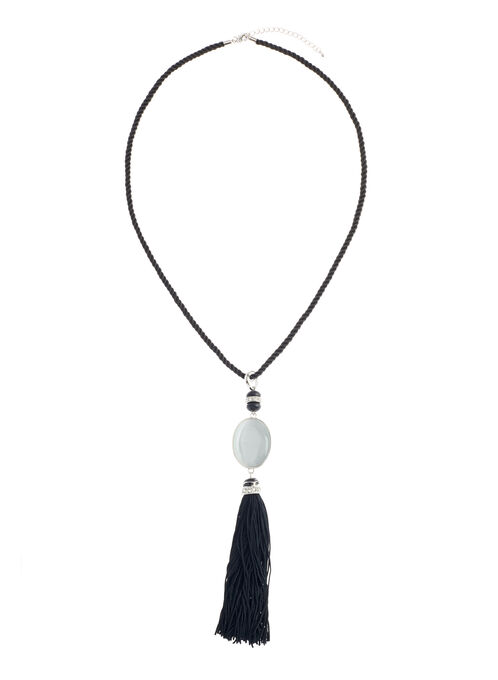 Oval Stone Tassel Necklace , Black, hi-res