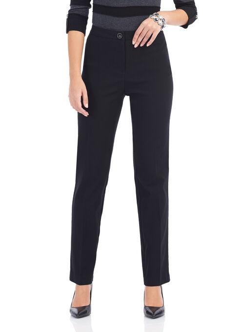 Textured Straight Leg Pants, Black, hi-res