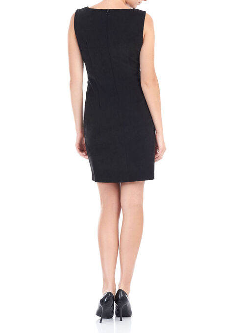 Sleeveless Faux Suede Dress, Black, hi-res