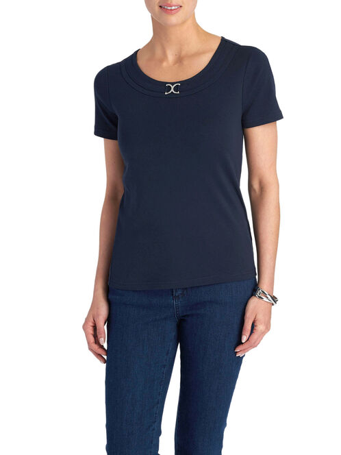 Short Sleeve Metal Trim T-Shirt, Blue, hi-res