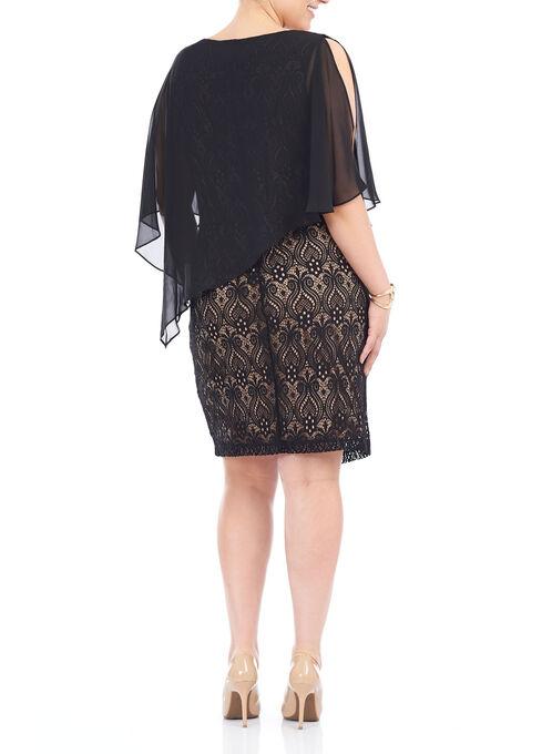 Sleeveless Lace Poncho Dress, Black, hi-res