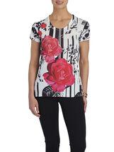 Scoop Neck Sequined T-Shirt, Black, hi-res