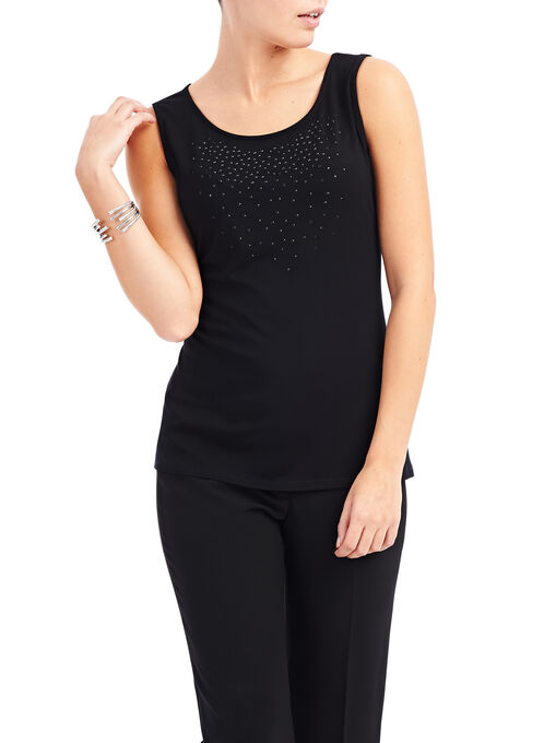 Beaded Sleeveless Top , Black, hi-res