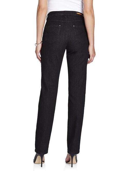 Simon Chang Tonal Stitch Straight Leg Jeans, Black, hi-res