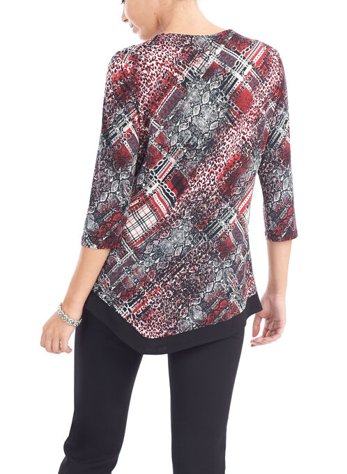 3/4 Sleeve Asymmetric Tunic Top, Red, hi-res