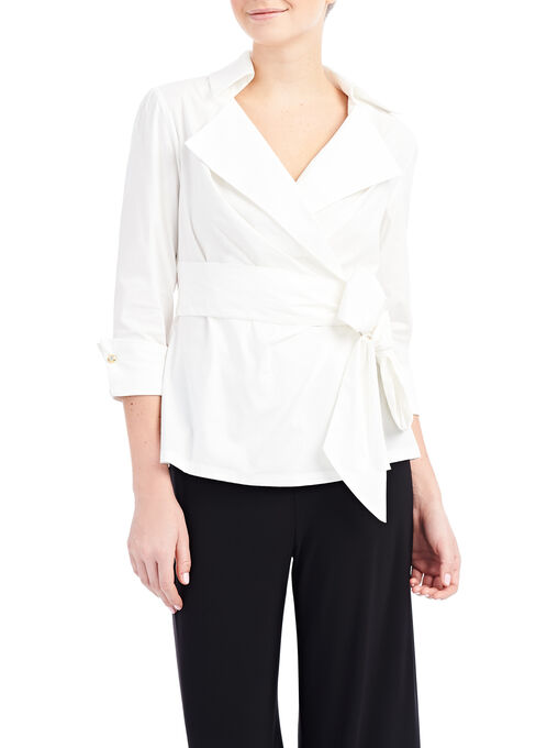 3/4 Sleeve Stretch Poplin Blouse, White, hi-res