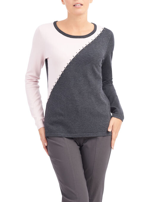 Asymmetrical Stud Trim Sweater, Grey, hi-res