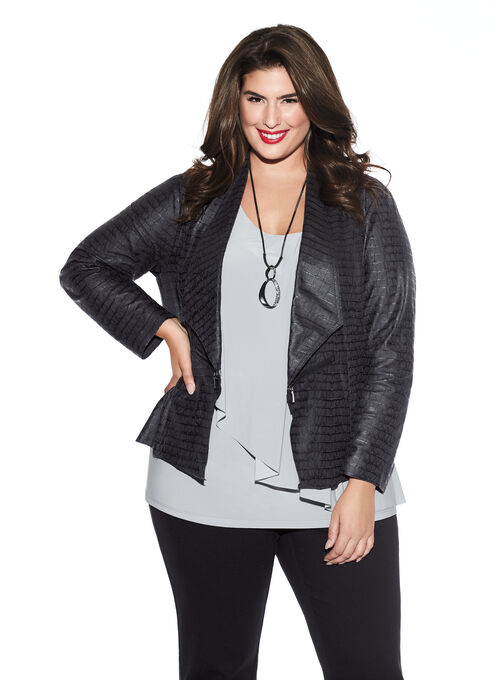Faux Suede Zipper Detail Jacket, Black, hi-res