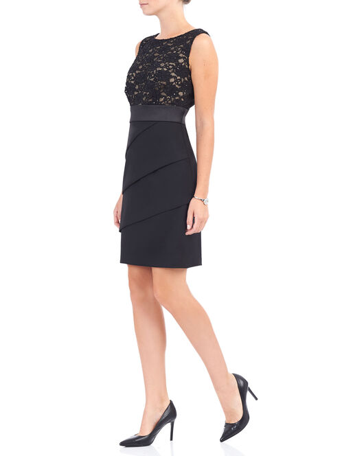 Sleeveless Tiered Lace Dress, Black, hi-res