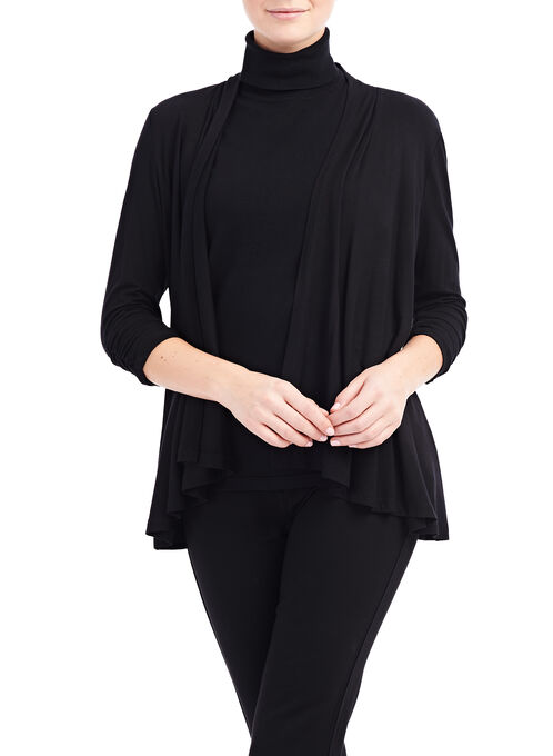 Ruched Sleeve Cover Up , Black, hi-res