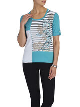 Elbow Sleeve Stripe Print Top, Green, hi-res