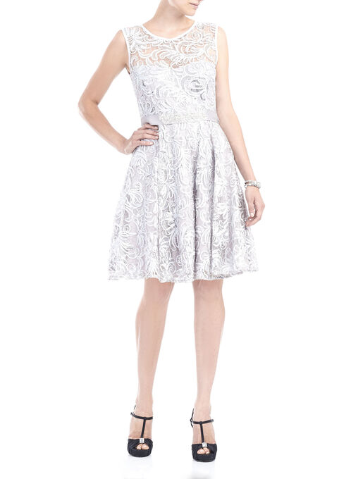 Sequined Soutache Fit & Flare Dress, Silver, hi-res