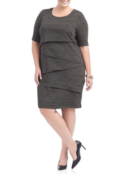 Elbow Sleeve Printed Tiered Dress, Brown, hi-res