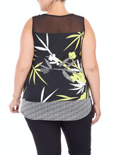 Sleeveless Printed Tunic Top, Black, hi-res
