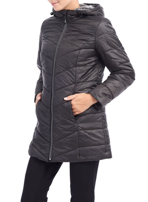 Chevron Faux Fur Jacket, Black, hi-res