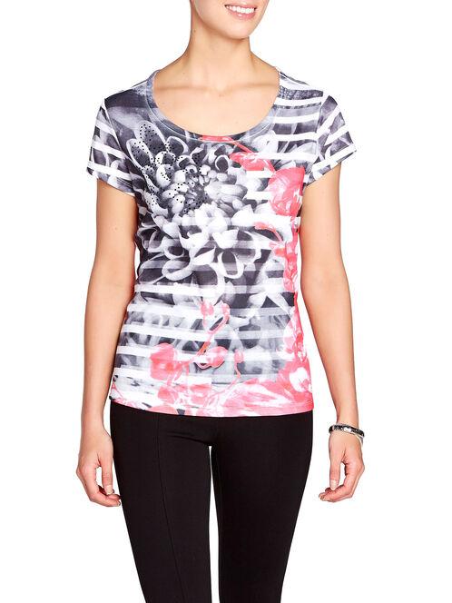 Floral Printed Beaded Trim T-Shirt, Black, hi-res
