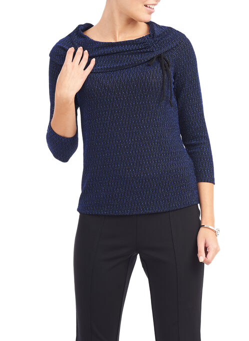 Marilyn Collar Glitter Knit Sweater, Blue, hi-res
