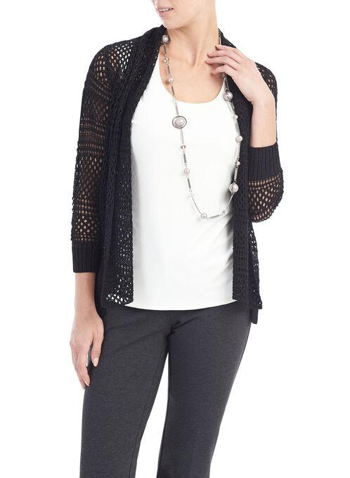 3/4 Sleeve Crochet Cardigan, Black, hi-res