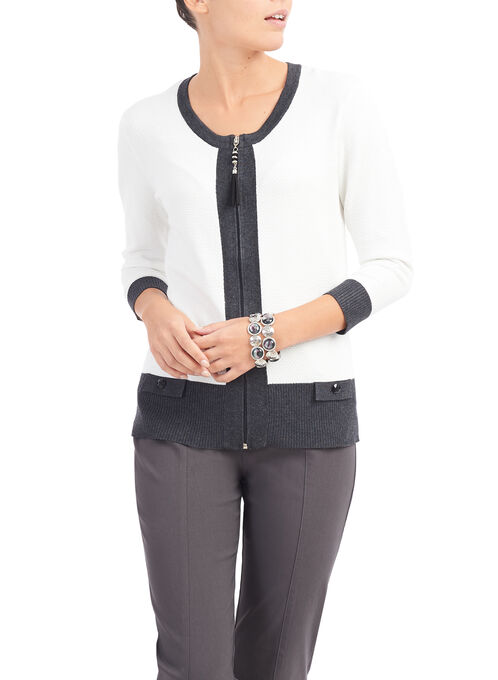 3/4 Sleeve Contrast Trim Cardigan, White, hi-res