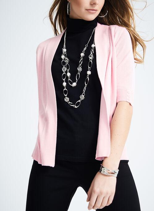 Elbow Sleeve Knit Cardigan , Pink, hi-res