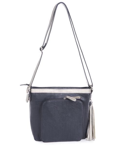 Faux Leather Crossbody Handbag, Black, hi-res