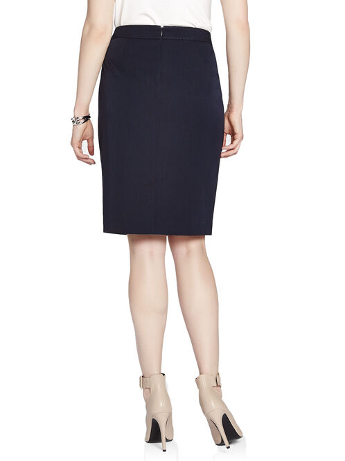 Stitched Waist Pencil Skirt, Blue, hi-res