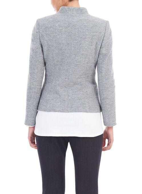 Zipper Trim Wool Blend Jacket, Grey, hi-res