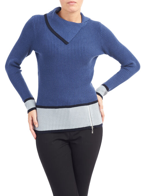 Ribbed Split Collar Sweater, Blue, hi-res