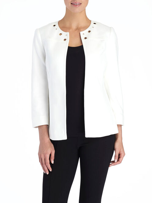 Grommet Trim Open Front Jacket, White, hi-res