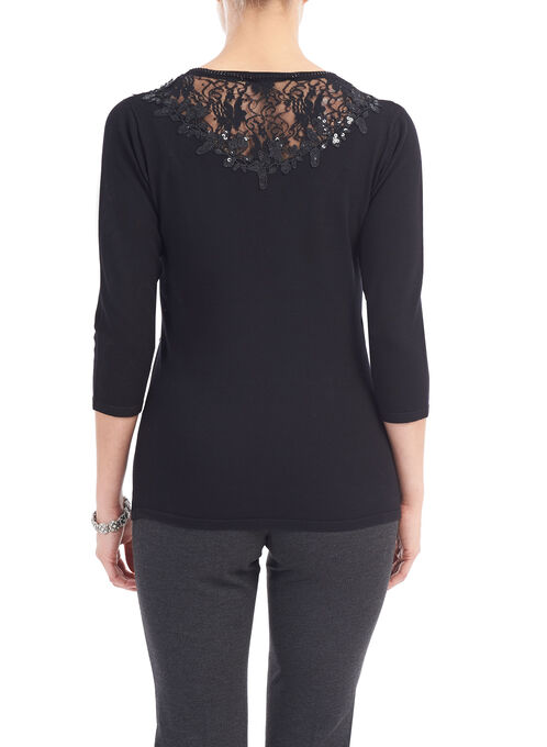 Sequined Lace Trim Knit Top, Black, hi-res