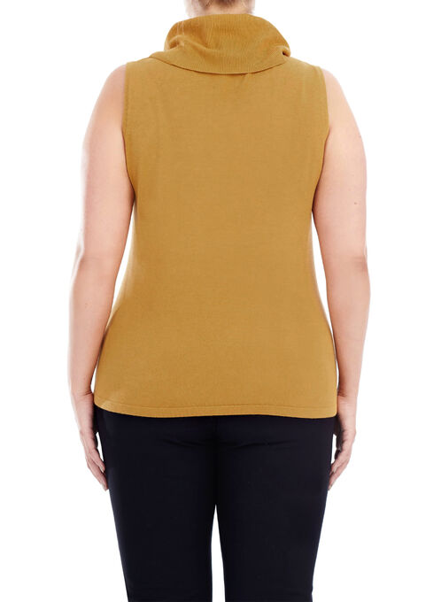 Sleeveless Knit Turtleneck, Yellow, hi-res