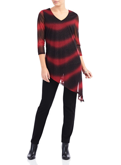Ombré Jersey & Glitter Tunic , Red, hi-res