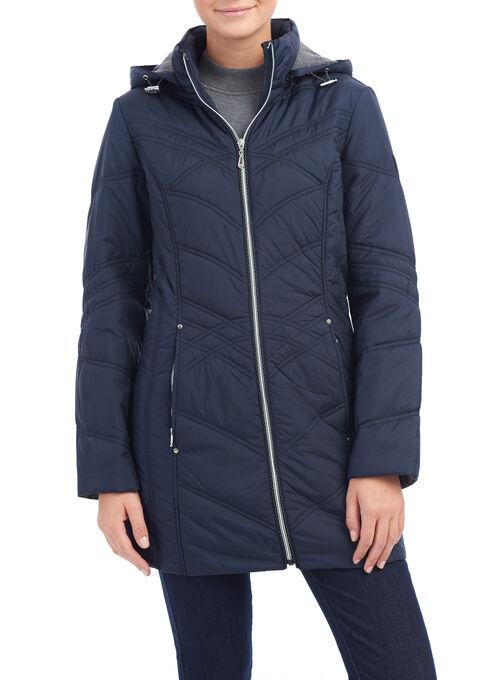 Novelti Hooded Polyfill Coat, Blue, hi-res