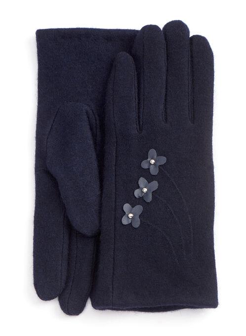 Studded Floral Wool Blend Gloves, Blue, hi-res