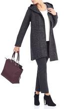 Hooded Asymmetrical Zip Coat, Grey, hi-res