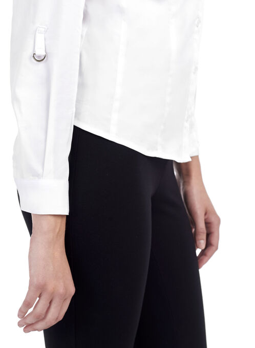 Tab Detail Button Down Blouse, White, hi-res