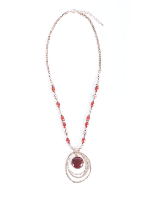 Faceted Stone Beaded Necklace, Red, hi-res