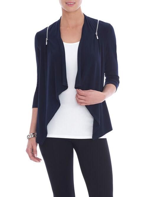 3/4 Sleeve Zipper Trim Top, Blue, hi-res