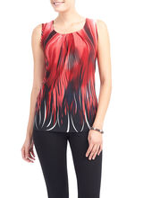 Pleated Fire Border Print Top, Red, hi-res
