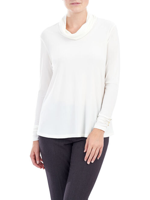 Long Sleeve Cowl Neck Top, Off White, hi-res
