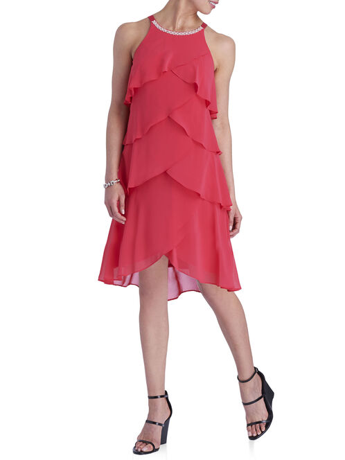 Sleeveless Tiered Pearl Trim Dress, Red, hi-res