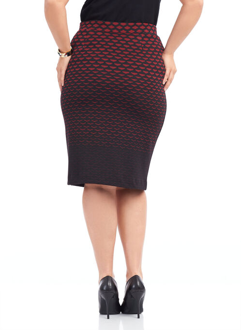 Geometric Print Knit Skirt , Black, hi-res