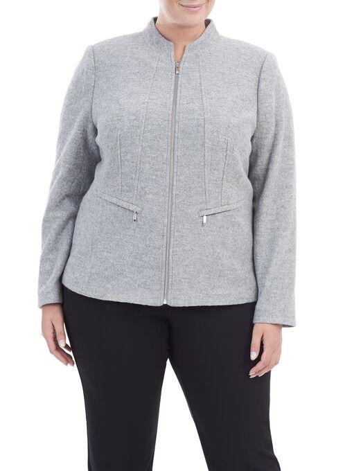 Zipper Trim Wool Jacket , Grey, hi-res