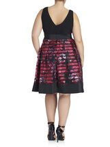 Sleeveless Floral Print Organza Gown, Black, hi-res