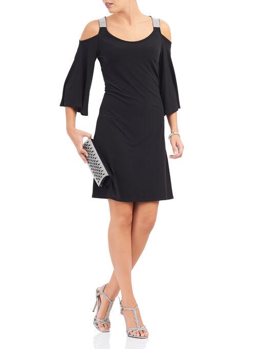 Jersey Cold Shoulder Rhinestone Dress, Black, hi-res